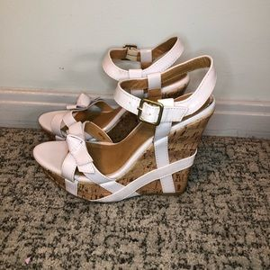 Charlotte Russe White Wedge Buckle Sandals